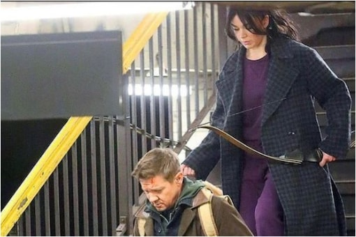 Jeremy Renner shoots for 'Hawkeye'