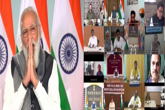 PM Narendra Modi chairs an all-party meeting with leaders of various political outfits and union ministers to discuss the COVID-19 situation in the country, via video conferencing, on December 4, 2020. (PTI Photo)