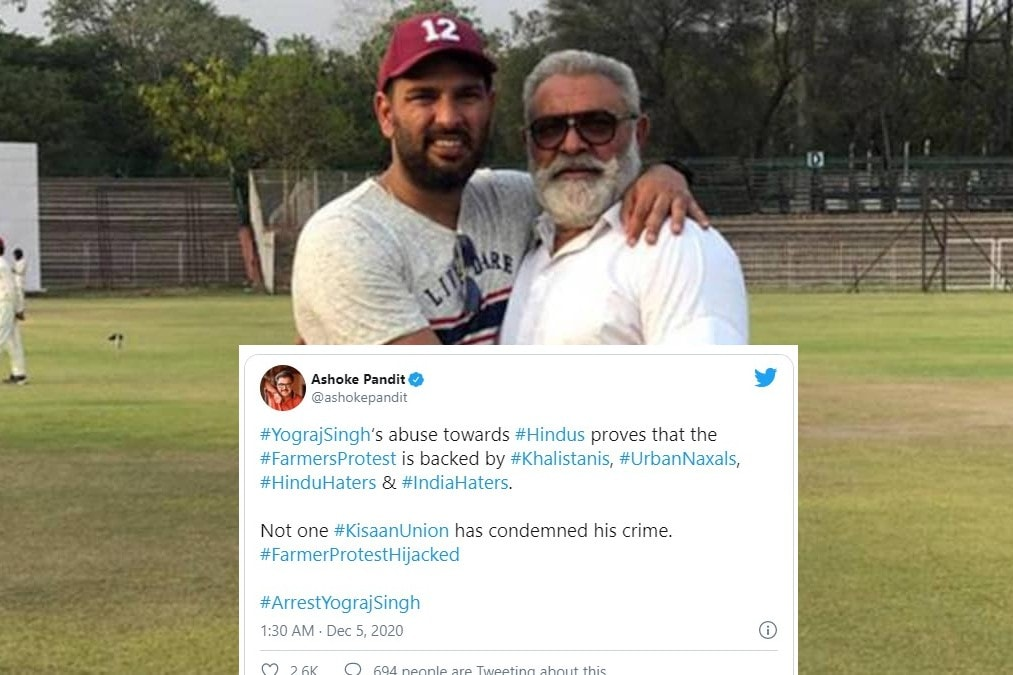 #ArrestYograjSingh Trends on Twitter After Former Indian Cricketer's Provocative Speech During Farmer's Protest