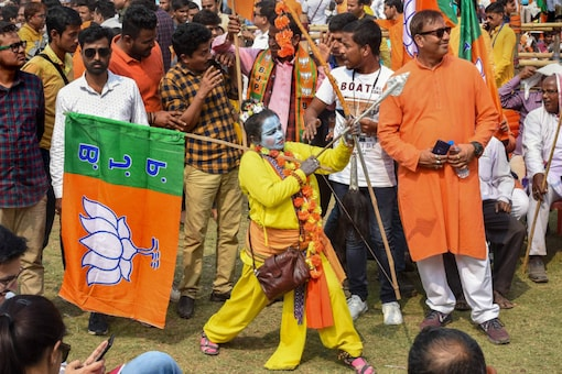 A BJP supporter dressed as Ram attends Union home minster Amit Shah's rally at Shaheed Minar Ground in Kolkata, on March 1, 2020. (PTI Photo/Ashok Bhaumik)