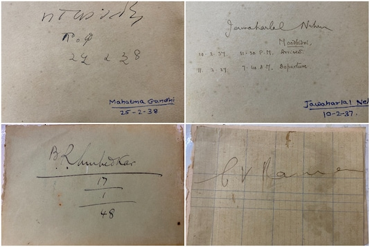 An autograph book containing signatures of Gandhi, Nehru, Ambedkar and Raman | Image credit: Twitter
