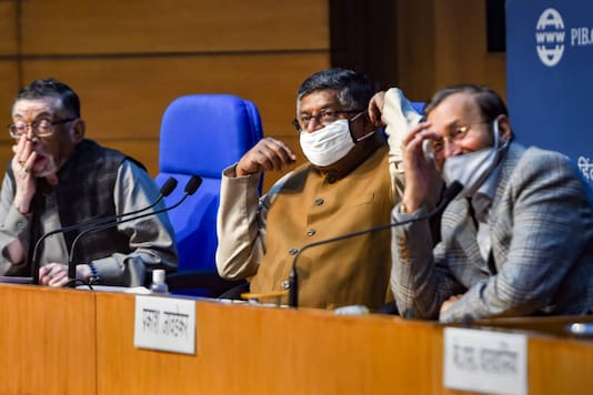 (Right to left) Union Ministers Prakash Javadekar, Ravi Shankar Prasad and Santosh Gangwar during a press conference on cabinet decisions, at National Media Centre in New Delhi on December 9, 2020. (PTI Photo/ Shahbaz Khan)