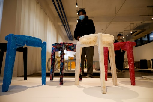 FILE PHOTO: Upcycled stools made from discarded protective masks by Kim Ha-neul who is majoring in furniture design. REUTERS/Kim Hong-Ji/File Photo