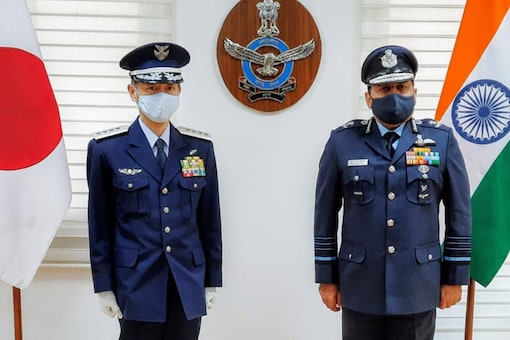 Chief of Japanese Air Force Gen Izutsu Shunji with Chief of Air Staff Air Chief Marshal RKS Bhadauria on Thursday. (Image: Twitter/@@IAF_MCC)