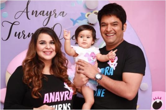 Kapil Sharma with wife and daughter