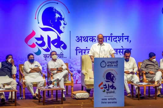 NCP chief Sharad Pawar during his 80th birthday celebration organised by party workers in Mumbai, on December 12, 2020.  (PTI Photo/Shashank Parade)