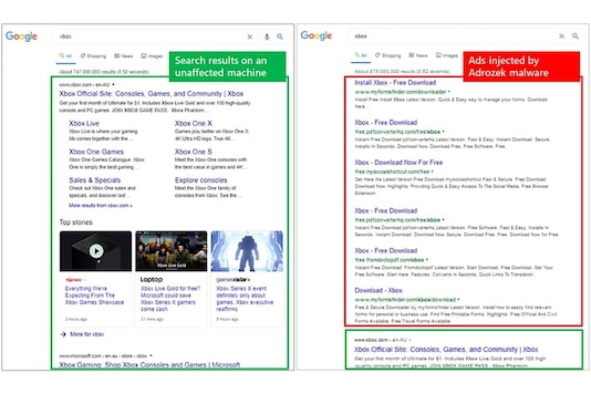 Microsoft showcases search results without Adrozek and with the malware.