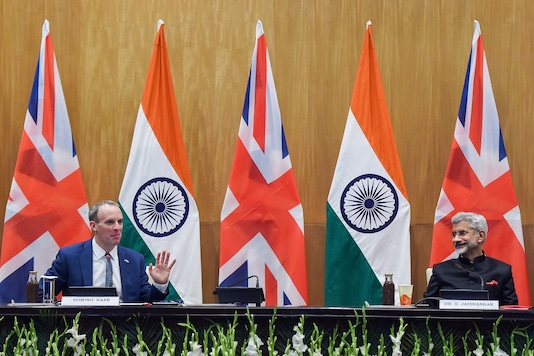 External Affairs Minister S Jaishankar and British Foreign Secretary Dominic Raab at a joint press conference, at Hyderabad House in New Delhi on Tuesday. (PTI)