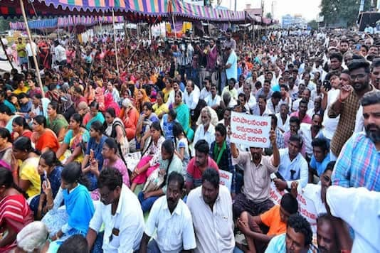 Farmers during a protest against the state government's three-capital formula.