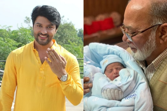 Actor Anas Rashid and his father with the former's newborn baby.