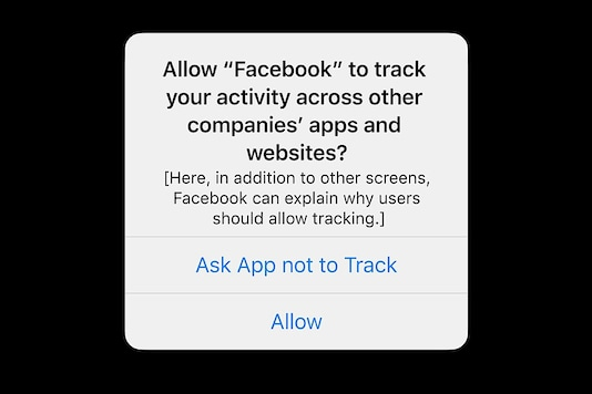 Pop-up notification that asks iPhone users to let Facebook track them over the internet.