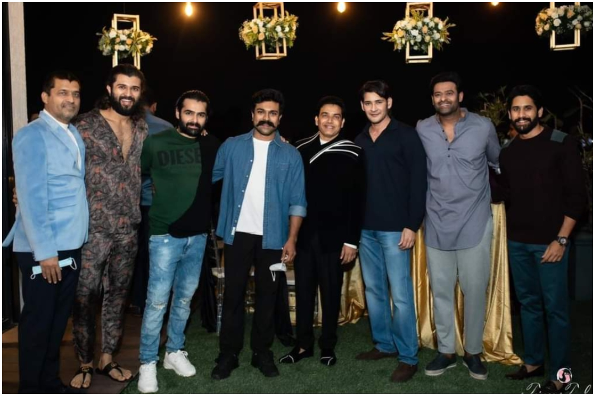 Telugu film producer Dil Raju's 50th birthdaybash turned out to be one epic gathering of big names from the south cinema.From Pawan Kalyan, Chiranjeevi and Mahesh Babu to Prabhas, Ram Charan and Vijay Deverakonda, the party saw all the superstars partying under one roof. Check out the pictures...