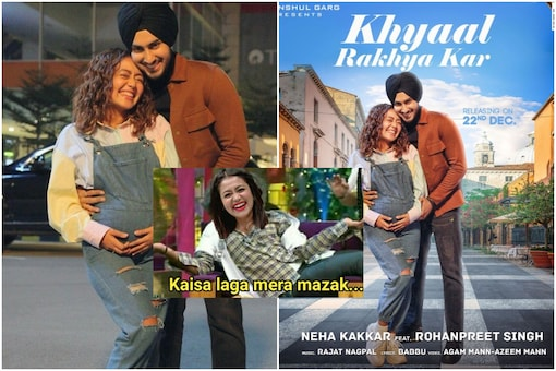 Neha Kakkar and Rohanpreet Sing seemed to announce their pregnancy on Friday. But on Saturday, it turned out to be a poster   Image credit: Instagram