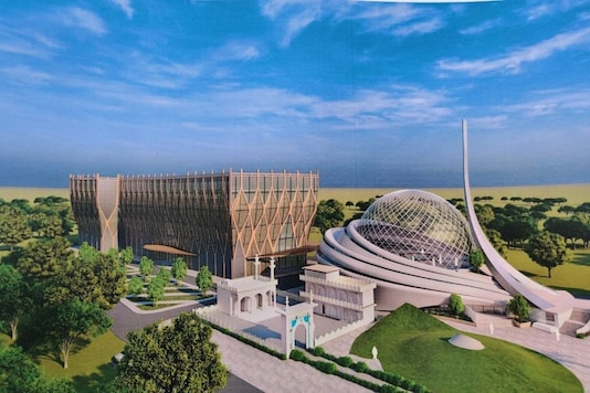Design of the Ayodhya mosque unveiled by the UP Sunni Central Waqf Board. (Image credits: Twitter)