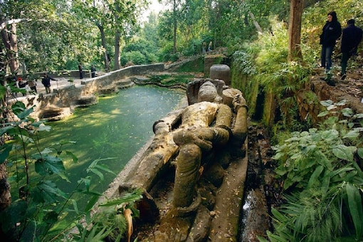 The reclining Vishnu sculpture is inside  Bandhavgarh Tiger Reserve and is said to be about 1000 years old. (Credit: @Parveen Kaswan/Twitter)