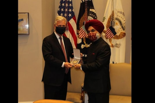 India's Ambassador to the US, Taranjit Singh Sandhu, accepted the award on behalf of the prime minister from the US National Security Advisor Robert O'Brien at the White House. (Credits: ANI)