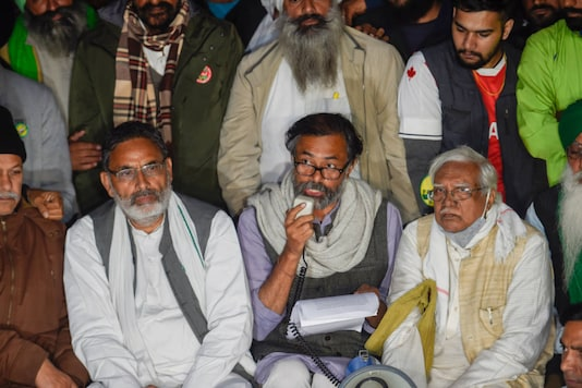 Farmers' leaders address a press conference at Singhu border during their protest against the new farm laws, in New Delhi on December 23, 2020. (PTI Photo/Kamal Singh)