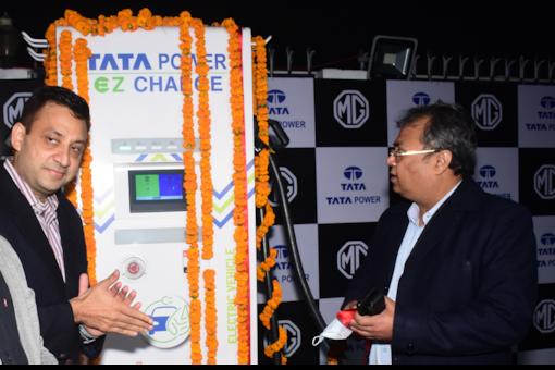 MG Motor and Tata Power Ev charging station. (Image source: MG Motor India)