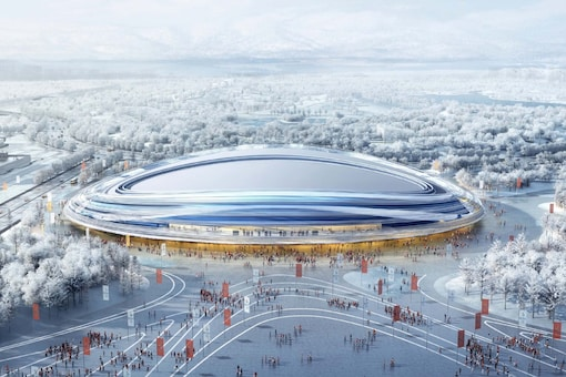 Design of the new National Speed Skating Hall for Beijing 2022 Winter Olympics. (Photo Credit: Beijing 2022 Twitter)