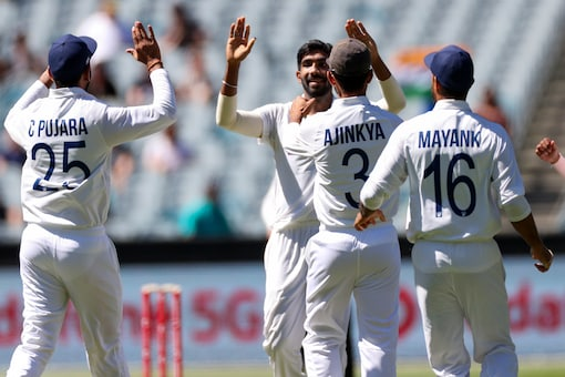 Jasprit Bumrah removed Australia opener Josh Burns early into the innings as he had him edged to the wicket-keeper. Australia 10/1. (Source: AP)