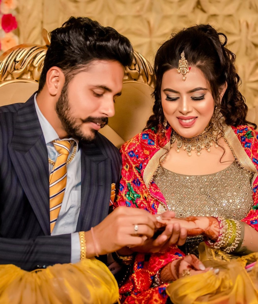 <em>Harmanpreet Singh exchanged rings with Amandeep. (Photo Credit: Harmanpreet Instagram)</em>