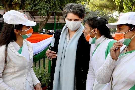 Priyanka Gandhi Vadra interacts with Congress workers on the party's foundation day.