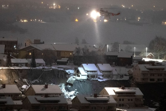 General view after a landslide hit a residential area in Ask village, about 40km north of Oslo, Norway December 30, 2020. Jil Yngland/NTB/via REUTERS