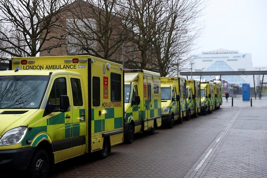 Ambulances are parked outside NHS Nightingale Hospital at the ExCel centre following the outbreak of the coronavirus disease in London, Britain January 1, 2021. (Image: Reuters)
