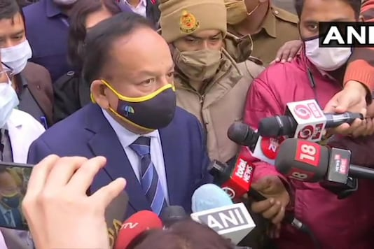 Union health minister Harsh Vardhan speaks to reporters after inspecting vaccination dry run at GTB Hospital in Delhi on Saturday. (Image: ANI)