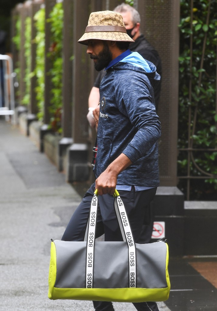 India's Ravindra Jadeja leaves the team's hotel in Melbourne on January 4, 2021, as the Australian and Indian cricket teams relocate to Sydney for the third cricket Test on January 7. (Photo by William WEST / AFP)