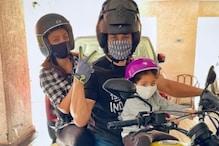 Kunal Kemmu Goes for Bike Ride with Wife Soha Ali Khan, Daughter Inaaya