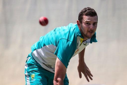 Josh Hazlewood bowls in the nets. (AFP)