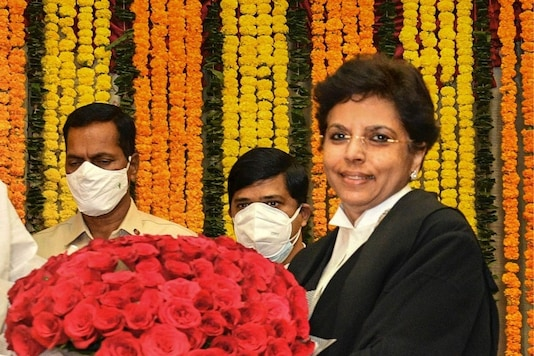Justice Hima Kohli being sworn in as the chief justice of the Telangana High Court. (PTI)