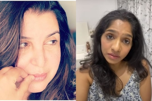 Farah Khan(left) and a screengrab from Jamie Lever's video)