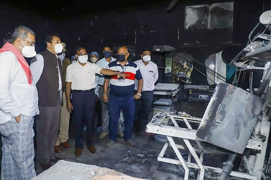 Bhandara: Maharashtra Home Minister Anil Deshmukh visits the Bhandara General Hospital, where a fire broke out, in Bhandara district, Saturday, Jan. 9, 2021. Ten infants died after a fire broke out in the special newborn care unit of hospital in the wee hours of Saturday. (PTI Photo)