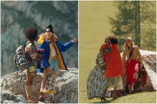 Gucci and The North Face ad features models in heels trekking mountains | Image credit: Twitter