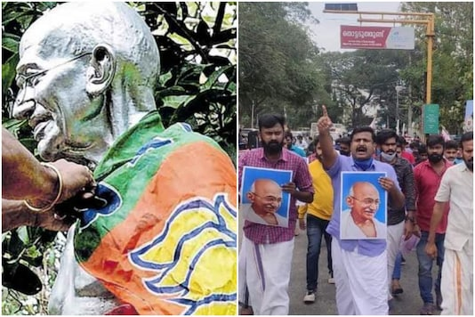 A Mahatma Gandhi statue in Palakkad was draped in a BJP flag | Image credit: Twitter