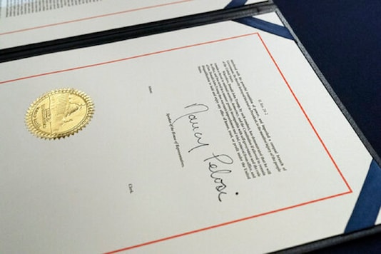 The signature of House Speaker Nancy Pelosi of Calif., is on the article of impeachment against President Donald Trump, after an engrossment ceremony before transmission to the Senate for trial on Capitol Hill, in Washington. (AP)