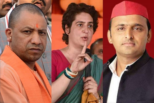 File photo of CM Yogi, Priyanka Gandhi and Akhilesh Yadav