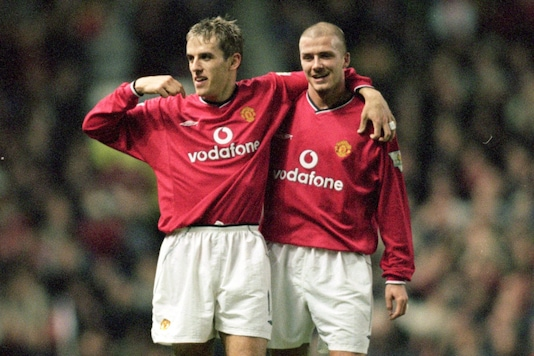 Phil Neville and David Beckham (Photo Credit: Twitter)