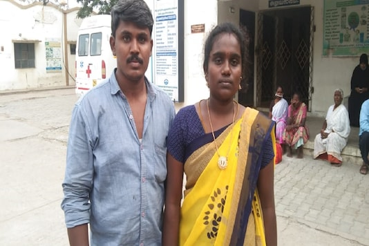 The dalit couple who has been fined for their inter-sect marriage.