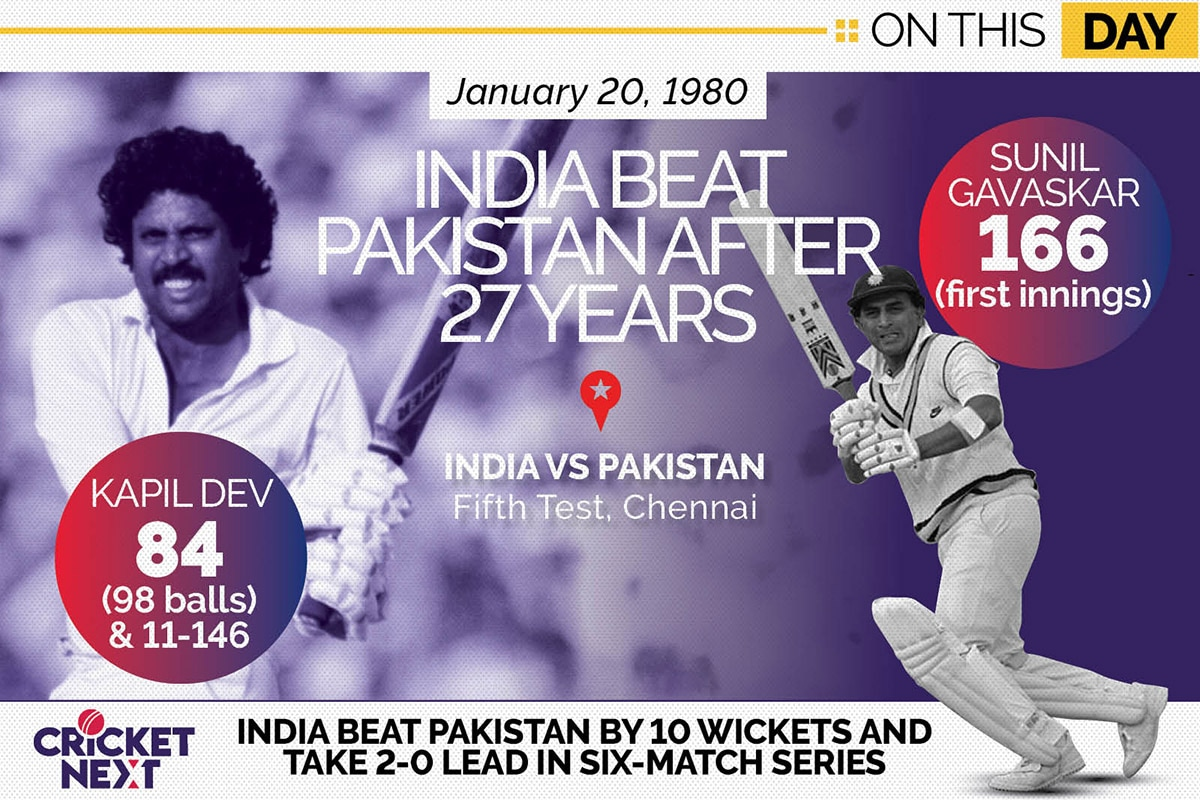 On This Day, January 20 1980 - India Register Their Second Series Win Against Pakistan
