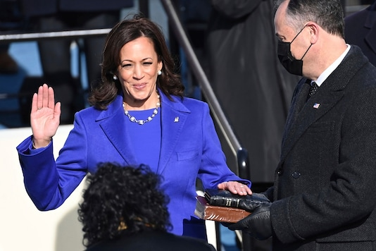 File photo: Kamala Harris is sworn in as vice president by Supreme Court Justice Sonia Sotomayor as her husband Doug Emhoff holds the Bible during the 59th Presidential Inauguration at the U.S. Capitol in Washington, Wednesday. (AP/PTI)