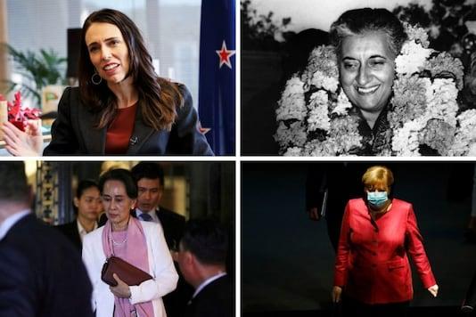 Jacinda Ardern, Angela Merkel, Aung San Suu Kyi and Indira Gandhi in file photos.