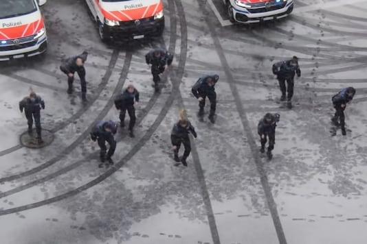 Video grab of Switzerland Police's viral dance challenge.