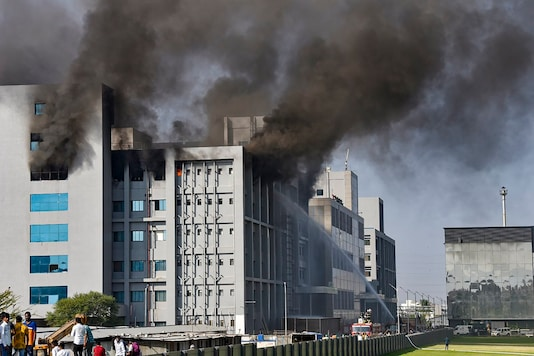 Smoke billows out after a massive fire broke out at the Serum Institute of India, in Pune, Thursday, Jan. 21, 2021. The facility had rolled out its Covishield vaccine for the first phase of COVID vaccination drive that began on Jan 16 (PTI Photo)