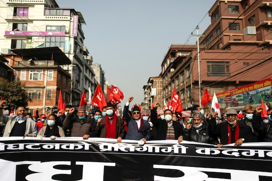 Former Prime Ministers Pushpa Kamal Dahal, also known as Prachanda, (C) along with senior political leaders lead the protest against the dissolution of parliament, in Kathmandu, Nepal January 22, 2021. REUTERS/Navesh Chitrakar