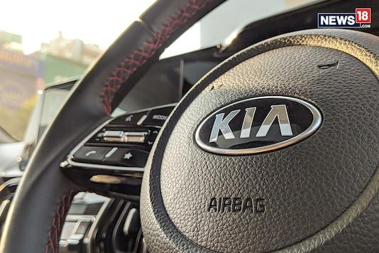 Kia logo as seen on a Kia Sonet. Image used for representation. (Photo: Manav Sinha/News18.com)