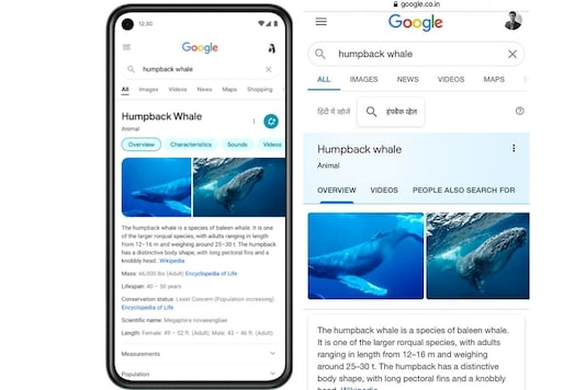 New Google Search page design (L) compared to the current one.