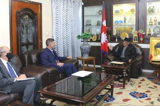 US Ambassador to Nepal Randy Berry on Monday met Pushpa Kamal Dahal 'Prachanda'. (Image: Twitter)